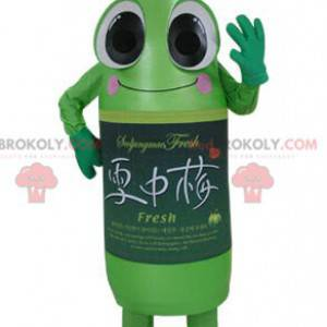 Uśmiechnięta i zabawna maskotka butelka zielonej sody -