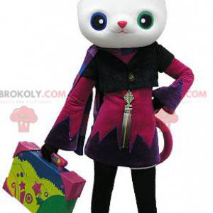 White cat mascot with wall eyes and a nice costume -