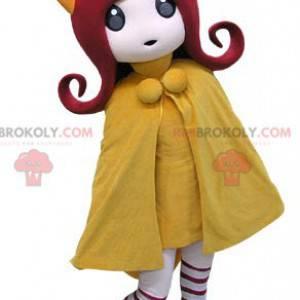 Rusovlasá dívka maskot se žlutým kabátem - Redbrokoly.com