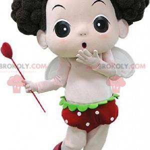 Brun jente maskot med vinger og en tryllestav - Redbrokoly.com