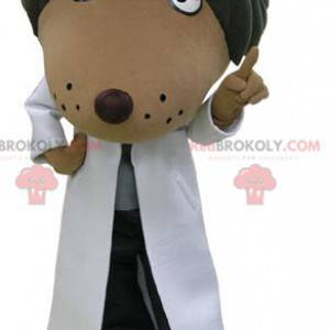 Brown and black dog mascot dressed in a white blouse -