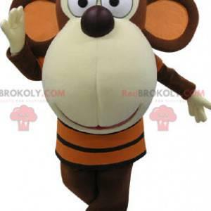 Braunes und weißes Affenmaskottchen mit einem großen Kopf -
