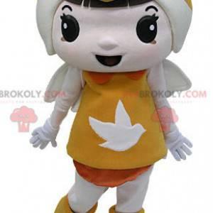 Maskottejente kledd i oransje med vinger - Redbrokoly.com