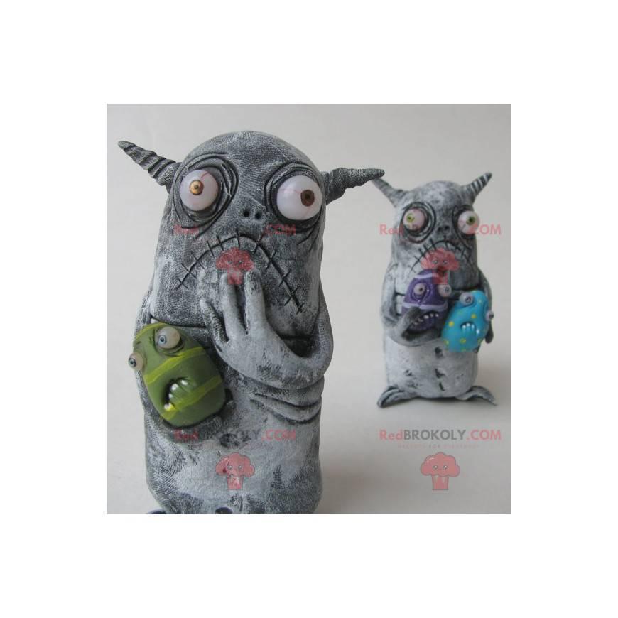 2 Maskottchen kleiner grauer Monster - Redbrokoly.com