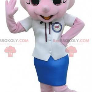 Mascote do rinoceronte rosa vestido com uma saia -