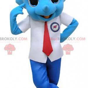 Modrý maskot nosorožce oblečený v obleku a kravatě -