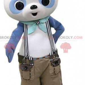 Mascotte panda blu e bianco con pantaloncini bretelle -