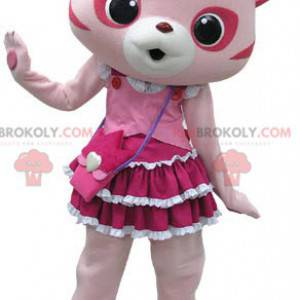 Pink and white cat mascot with a pretty dress - Redbrokoly.com