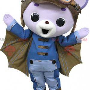 Purple cat mascot with wings and a pilot's helmet -
