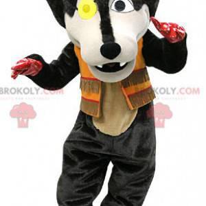 Black wolf mascot with an eye patch - Redbrokoly.com