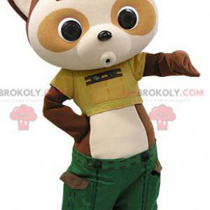 Brown and beige panda mascot dressed in green shorts -