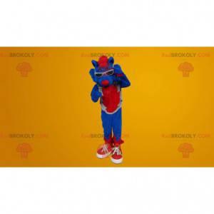 Zábavný a barevný maskot modrá kočka - Redbrokoly.com