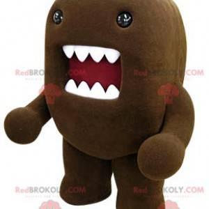 Maskot Domo Kun hnědé hnědé monstrum s velkými ústy -
