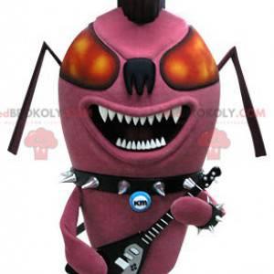 Maskotka owad różowy mrówka punk. Maskotka rocka -