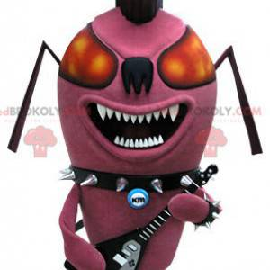 Punk ant pink insect mascot. Rock mascot - Redbrokoly.com