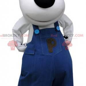 Maskotka niedźwiedź polarny ubrany w niebieski kombinezon -