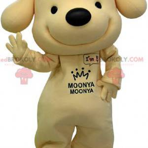 Bardzo uśmiechnięta żółto-czarna maskotka psa - Redbrokoly.com