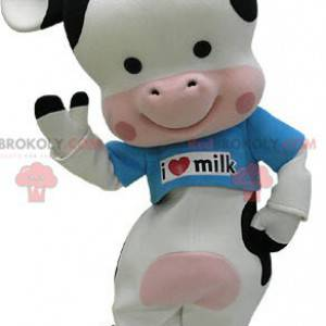 Maskottchen schwarz weiße und rosa Kuh mit einem blauen T-Shirt