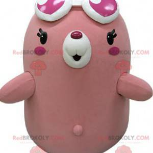 Pink and white bear mascot with heart-shaped glasses -
