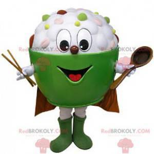 Bowl mascot filled with asian food - Redbrokoly.com