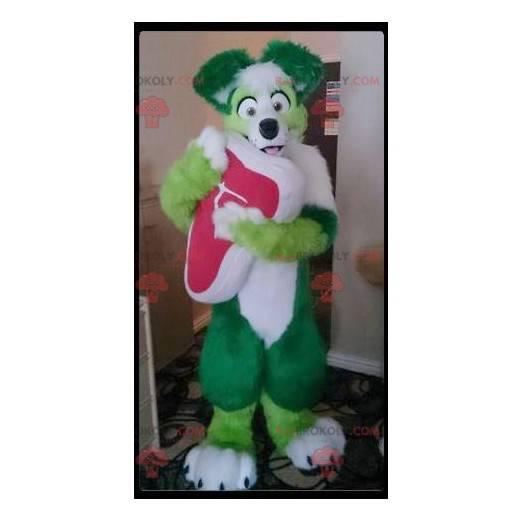 Grünes und weißes Hundemaskottchen alle haarig - Redbrokoly.com