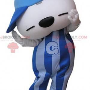 Blue and white teddy bear mascot with a cap - Redbrokoly.com