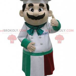 Maskot šéfkuchaře se zástěrou a kuchařskou čepicí -
