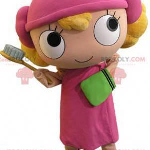 Maskot blond jente kledd i rosa - Redbrokoly.com