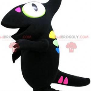Schwarzes Chamäleon-Maskottchen mit farbigen Flecken -