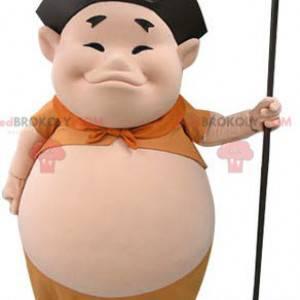 Asiatisches Mannmaskottchen mit einem dicken Bauch -