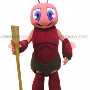 Mascote da formiga-alfarroba rosa e vermelha - Redbrokoly.com