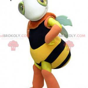 Černá a růžová žlutá včelí maskot. Maskot hmyzu - Redbrokoly.com