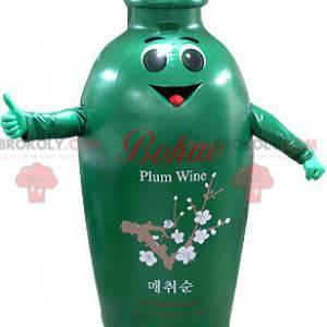 Smiling green and brown bottle mascot - Redbrokoly.com
