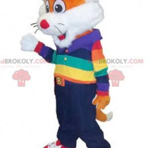 Maskot malá oranžová a bílá liška v barevné oblečení -