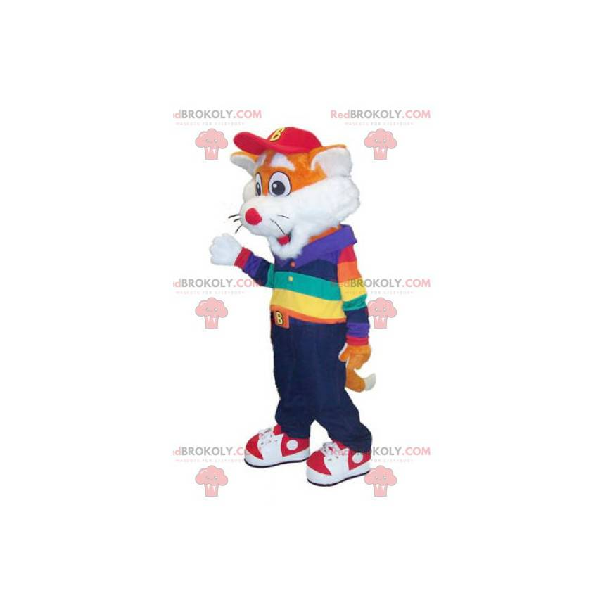 Mascot little orange and white fox in colorful outfit -