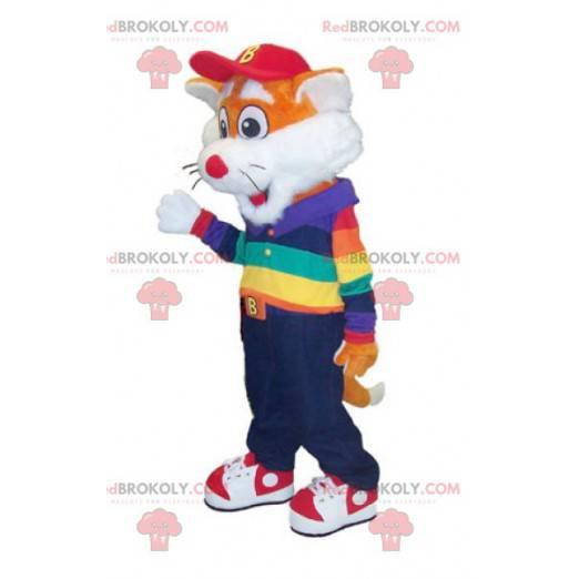 Maskottchen kleiner orange-weißer Fuchs im bunten Outfit -