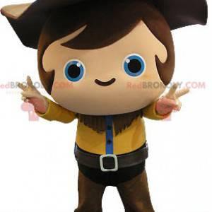 Mascota de niño vaquero con un traje amarillo y marrón -