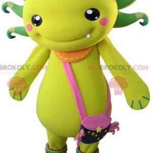 Żółto-zielona maskotka stwór z torbą na ramię - Redbrokoly.com