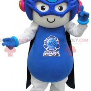 Maskot bílé a modré myši ve futuristickém oblečení -