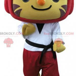 Tiger mascot in taekwondo outfit - Redbrokoly.com