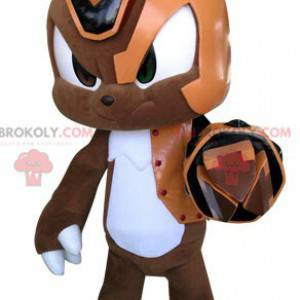 Orange and white brown cyborg rabbit mascot - Redbrokoly.com