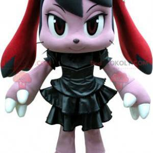 Rosa og rød kaninmaskot med svart kjole - Redbrokoly.com
