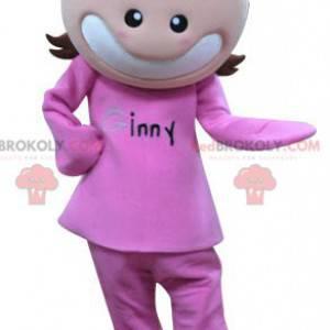 Maskottejente kledd i rosa. Jentemaskott - Redbrokoly.com