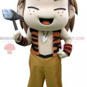 Velmi veselý malý prehistorický chlapec maskot - Redbrokoly.com