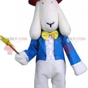 Maskot bílý pes oblečený v kostýmu kouzelníka - Redbrokoly.com