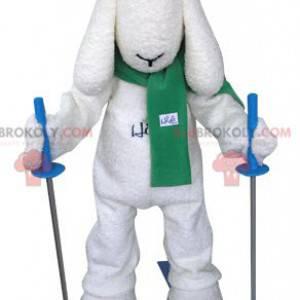 Bílý lyžař pes maskot - Redbrokoly.com