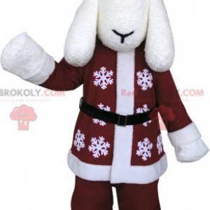 Maskot bílý pes v zimním oblečení - Redbrokoly.com