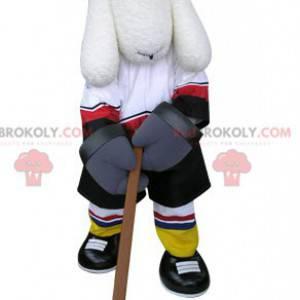 Maskot bílý pes v hokejové výstroji - Redbrokoly.com