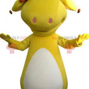 Žlutý a bílý dinosaurus maskot. Žluté zvíře - Redbrokoly.com
