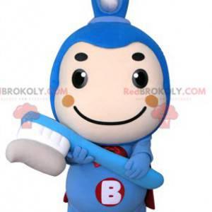 Maskot modrý kartáček na zuby s pláštěm - Redbrokoly.com